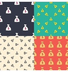 Money bag with dollar sign seamless patterns set vector