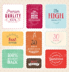 Colorful premium quality badges and labels vector