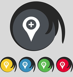 Plus map pointer gps location icon sign symbol on vector