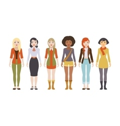 Six female characters vector
