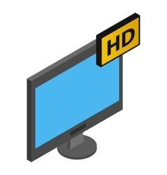 Tv hd isometric 3d icon vector