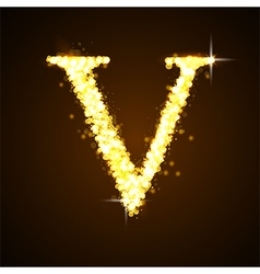 Alphabets v of gold glittering stars vector