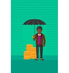 Man with umbrella protecting money vector