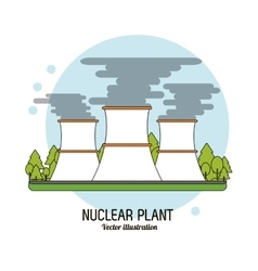 Nuclear plant in colorful design vector