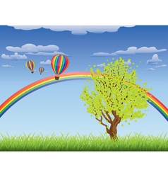 Tree on grass field vector