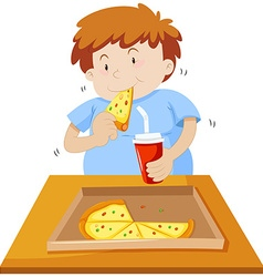Man eating pizza and drinking soda vector