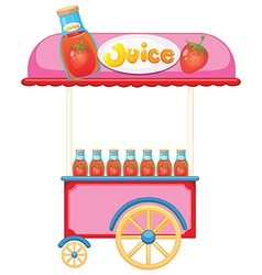 A strawberry juice cart vector