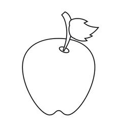 Apple leave fruit outline vector