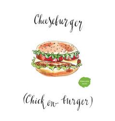 Big american cheeseburger vector