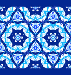 Blue flower kaleidoscopic pattern vector