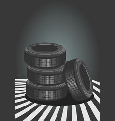 brand new tires on grey background vector image vector image