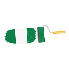 Brush stroke with nigeria national flag isolated vector