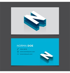 business card letter N vector image vector image