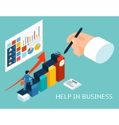 Business mentor help partner isometric 3d vector