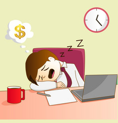 businessman sleep on desk vector image vector image
