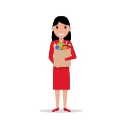 cartoon woman with paper bag full food vector image