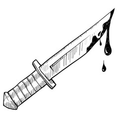 doodle knife murder vector image vector image
