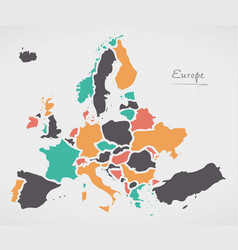 Europe mainland map with states vector