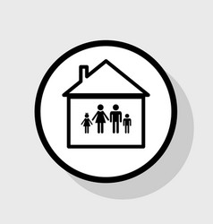 Family sign flat black icon vector