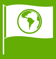 flag with world planet icon green vector image