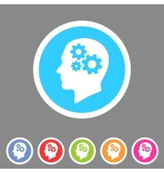 Head think idea gear icon flat web sign symbol vector
