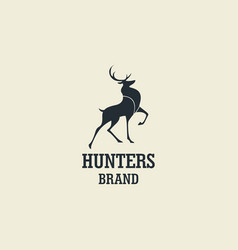 hunting deer silhouette design logo vector image vector image
