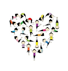 I love yoga heart shape vector
