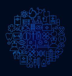 Medicine line icon circle concept vector