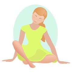Meditating girl in silence vector