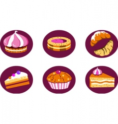 pastries and cakes vector image vector image