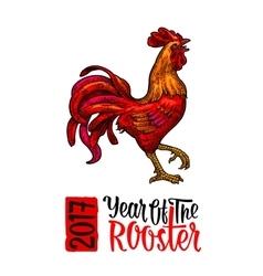 Red fiery rooster vintage black engraving vector