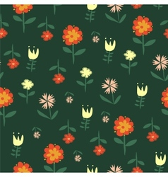 seamless pattern with flowers of doodles made vector image vector image