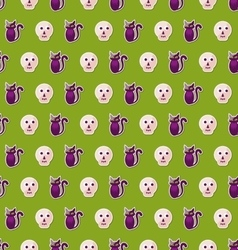 Seamless Texture with Colorful Cats and Skulls for vector image vector image