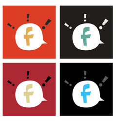 Set of facebook logotype social network icon vector