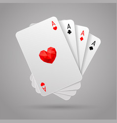 set of four aces playing cards suits poker hand vector image vector image