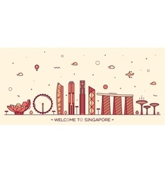 Skyline Singapore linear style vector image vector image