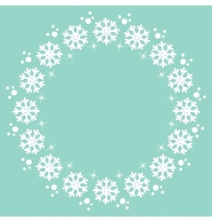 Snowflakes christmas winter round frame design vector