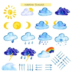 Watercolor icons weather forecast vector