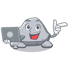 With laptop stone character cartoon style vector