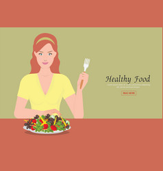 young women holding fork to eating salad on the vector image vector image