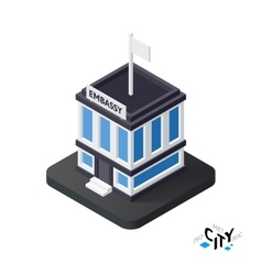 Isometric embassy icon building city infographic vector