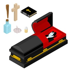 Dracula in coffin vampire count in black casket vector