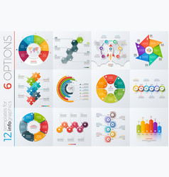 Collection of 12 templates for infographics vector