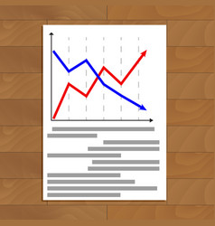 Document with arrow chart vector