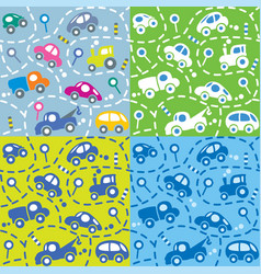 cars on the road seamless kids pattern set vector image