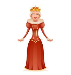 Cute queen cheerful ruler crown on head cartoon vector