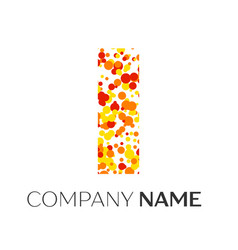 letter i logo with orange yellow red particles vector image
