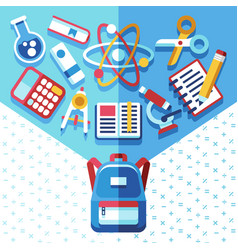 Education concept with backpack and supplies back vector