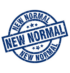 New normal blue round grunge stamp vector