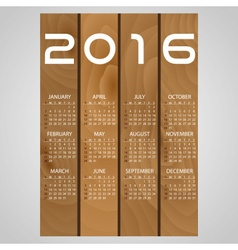 2016 wooden boards wall calendar with white eps10 vector